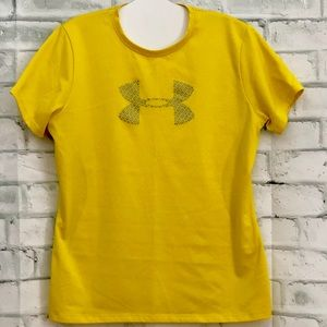 Under Armour Big Logo Yellow Athletic Shirt Med